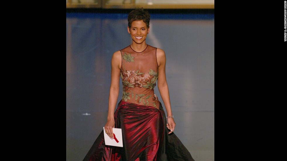 "Halle Berry was stunning in an embroidered Elie Saab gown in 2002 when she won an Oscar for her role in ""Monster's Ball,"" becoming the first African-American woman to win best actress."