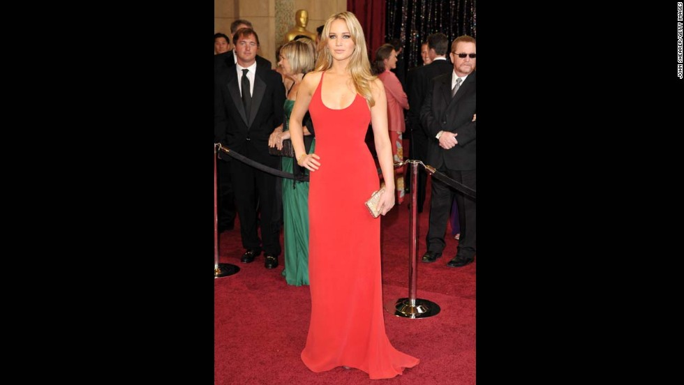 "Jennifer Lawrence was praised for donning a simple Calvin Klein gown on the red carpet at the 2011 Academy Awards. The actress was nominated for her role in ""Winter's Bone,"" but lost the statue to Natalie Portman."
