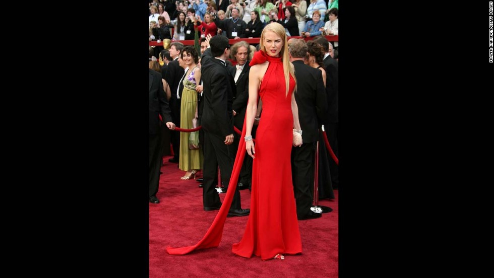 "The Balenciaga gown (complete with a giant red bow) that Oscar winner Nicole Kidman donned on the red carpet in 2007 might have inspired <a href=""http://www.dailymail.co.uk/femail/article-2107182/Oscars-2012-Emma-Stones-Giambattista-Valli-gown-just-like-Nicole-Kidmans-2007.html"" target=""_blank"">Emma Stone's 2012 Oscar look.</a>"