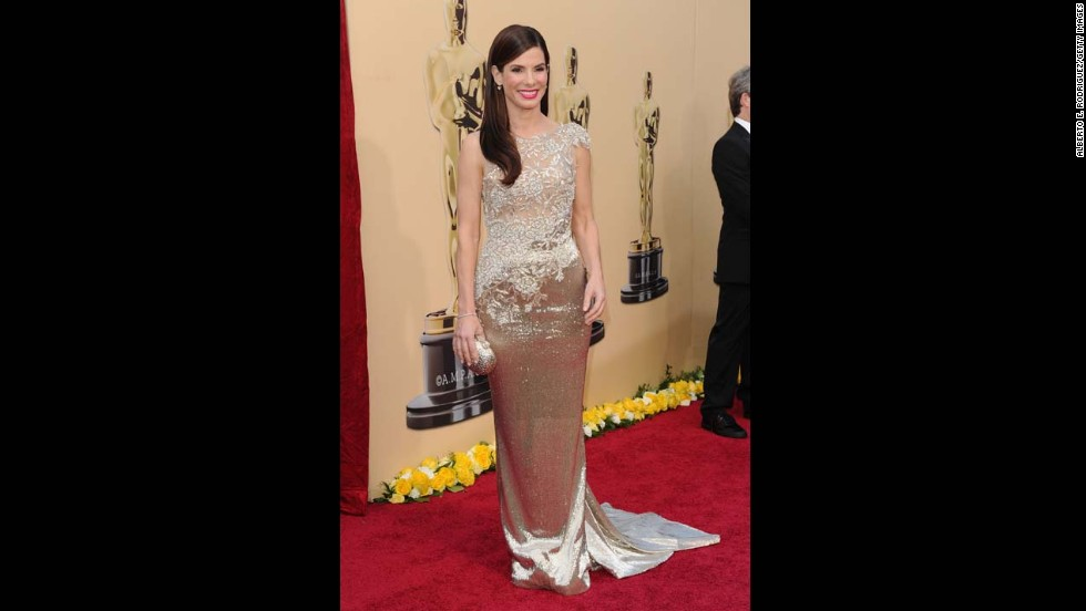 "Sandra Bullock won best actress for her role in ""The Blind Side"" in 2010, as well as a spot on several best-dressed lists, thanks to her beaded Marchesa gown."