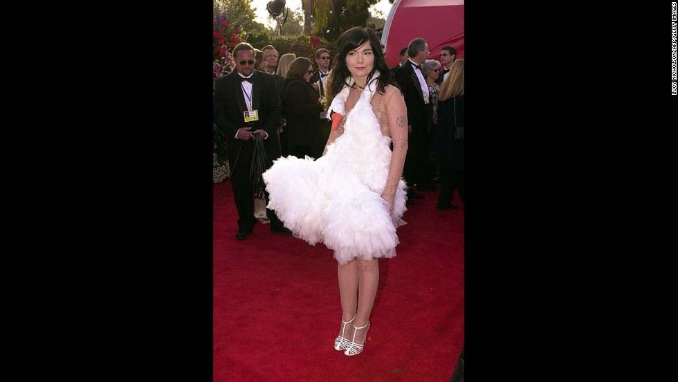 Thanks to this now-iconic swan dress she wore to the 2001 Oscars, Bjork will never get off the worst-dressed list. But is that really a bad thing? Several of you probably have no idea who won what at that year's ceremony, but you do know that there was a lady on the red carpet wearing a bird. In the industry, we call that a publicity win.