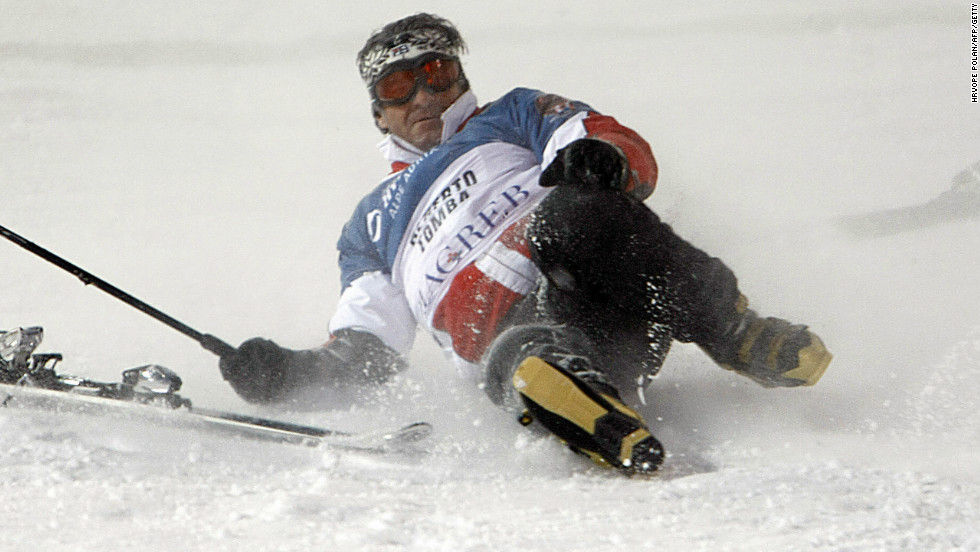 Tomba suffers an undignified fall during a charity race in Croatia in 2008.