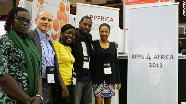 The Apps4Africa team (L-R): Mariéme Jamme, Thomas Genton, Barbara Birungi, Jon Gosier and Bahiyah Yasmeen Robinson.