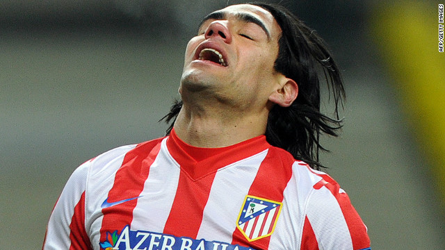 Radamel Falcao endured a frustraing night as Atletico Madrid went out of the Europa League
