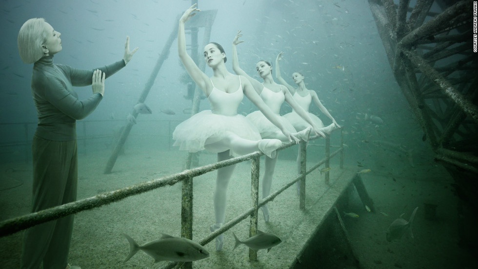 It's not a ghostly apparition, but one of the photographs by Viennese artist Andreas Franke, which was displayed aboard sunken ship USNS General Hoyt S.Vandenberg and only accessible to competent divers.