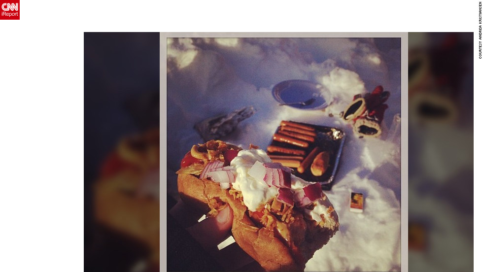 "In Norway with her family, <a href=""http://ireport.cnn.com/docs/DOC-931622"" target=""_blank"">Andrea Kristiansen</a> says hot dogs were a perfect fit for a cold day. ""We would get two hotdogs each, so I sat outside for half an hour with my little Norfolk terrier, Pirjo, and waited for the grill to get warm,"" she said. ""But my dog managed to get one of the sausages, so only one hotdog was left for me."""