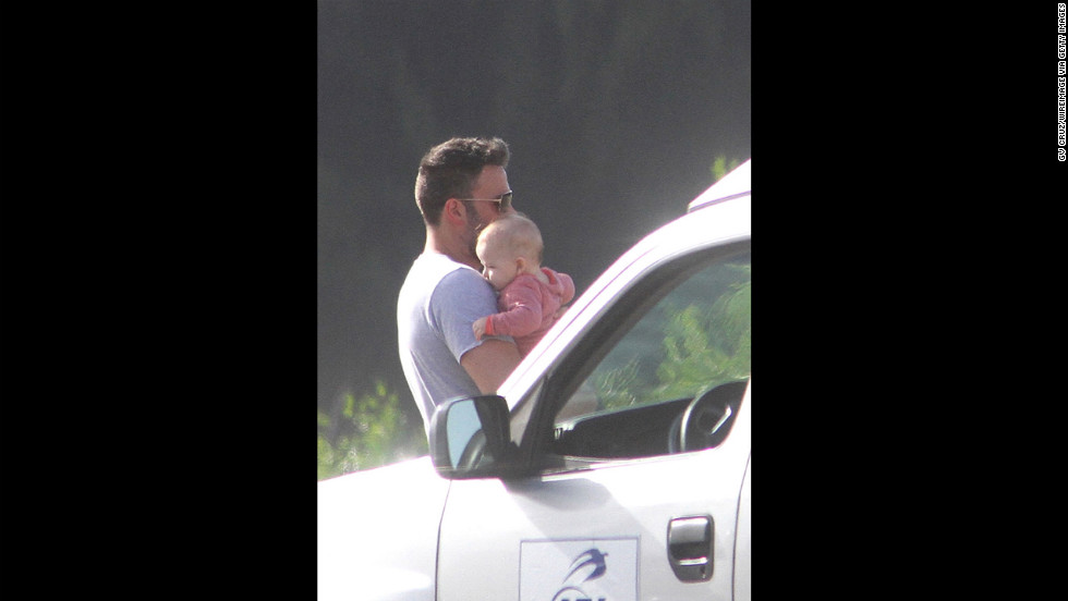 In July 2012, Affleck is seen with his baby son Samuel, born in February that year, in San Juan, Puerto Rico.