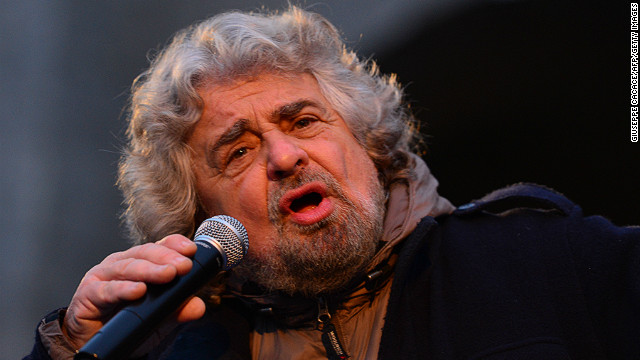 The head of Italy's populist Five Star Movement, comedian Beppe Grillo, addresses supporters during an electoral rally on February 12, 2013 in Bergamo, northern Italy.