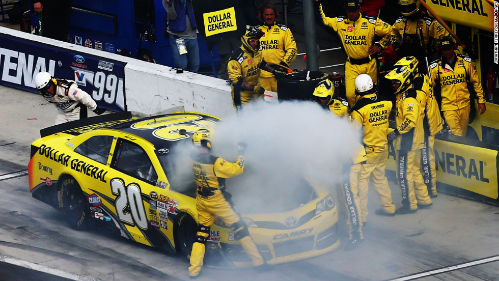 Driver Matt Kenseth pits after a malfunction.