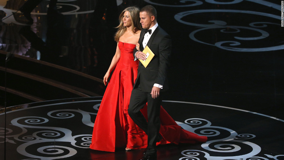 While presenting the award for achievement in costume design, Jennifer Aniston and Channing Tatum thank all the amazing folks they have worked with in the past, including the people who've waxed them.