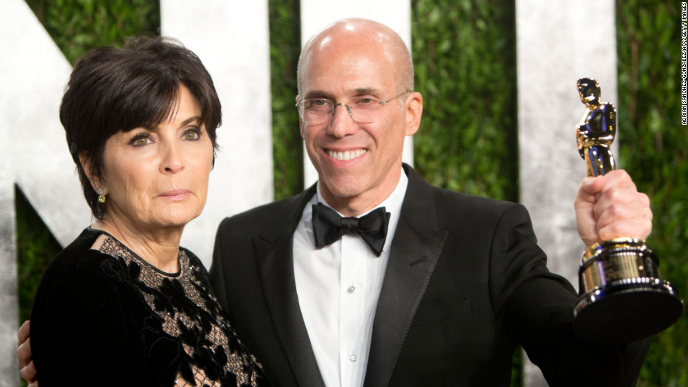 Jeffrey Katzenberg and wife at the 2013 Vanity Fair Oscar party.