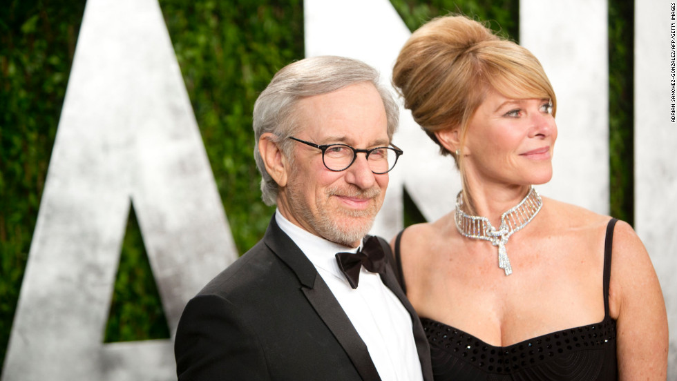 Steven Spielberg and wife at the 2013 Vanity Fair Oscar party.