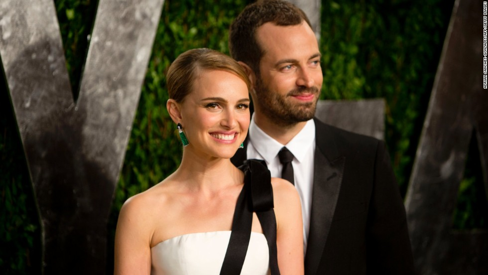 Natalie Portman and Benjamin Millipied at the 2013 Vanity Fair Oscar party.