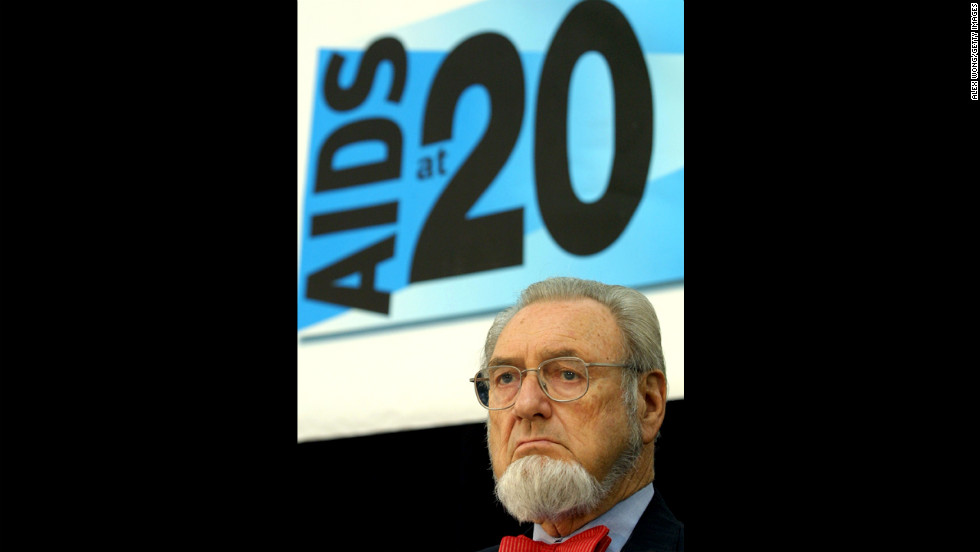 Koop attends an AIDS policy symposium in Washington on June 5, 2001. He was well-known for his work in HIV/AIDS awareness. He wrote a brochure about the disease that was sent to 107 million households in the United States in 1988.