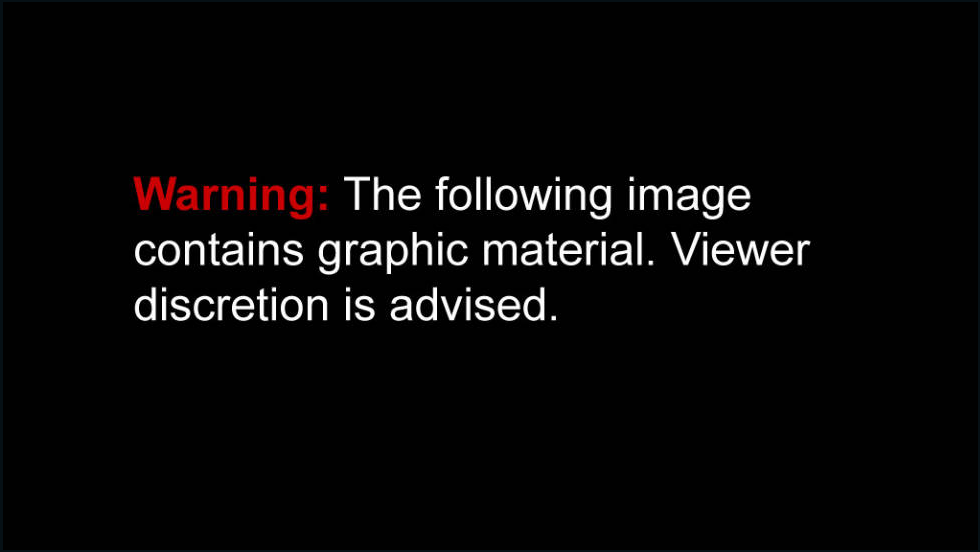 warning graphic content slide