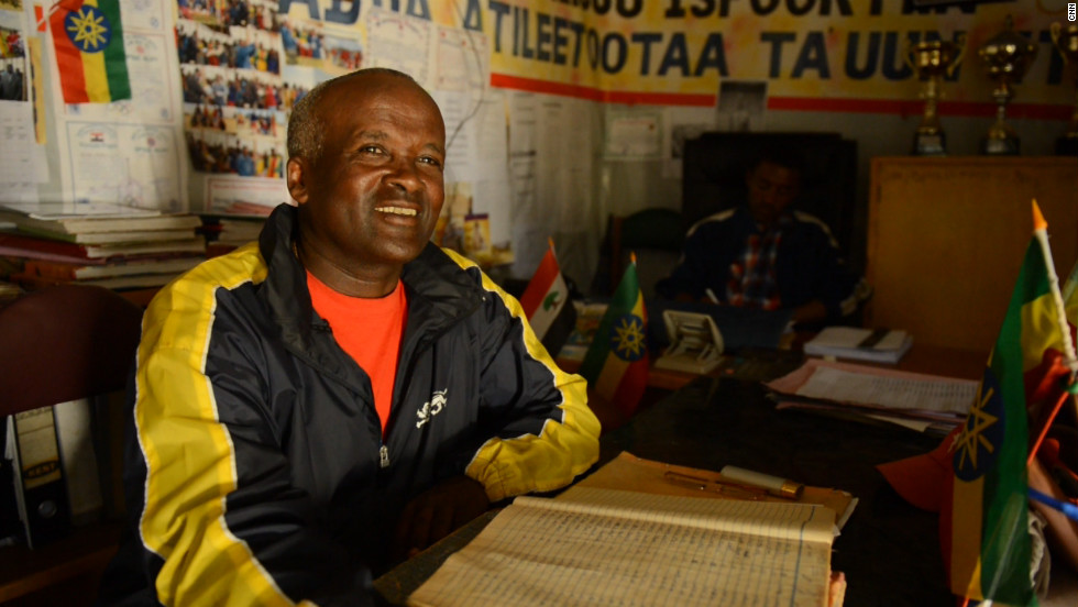 In his small office in Bekoji, Eshetu has kept a record of his runners since he first began training them some 25 years ago. The weight, height and fastest time of all of his prodigies are hand-written here, year by year, so he can keep track of their progress.