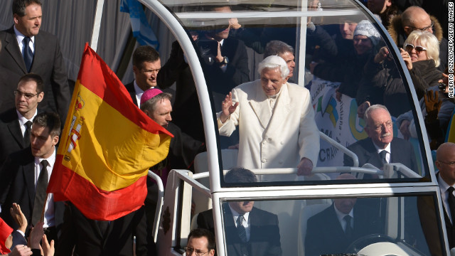 Pope Benedict XVI waves as he arrives on St Peter's square for his last weekly audience on February 27.