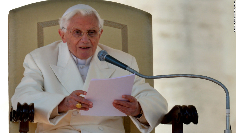 "The pope delivers his blessing. Benedict recounted how when he was asked to be pope eight years ago, he had prayed for God's guidance and had felt his presence ""every day"" since."
