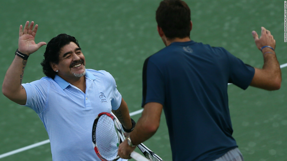 Maradona and del Potro embrace following the short cameo session. The former Barcelona and Napoli star, who is in Dubai on ambassadorial duties, left the court to huge applause for the watching spectators.