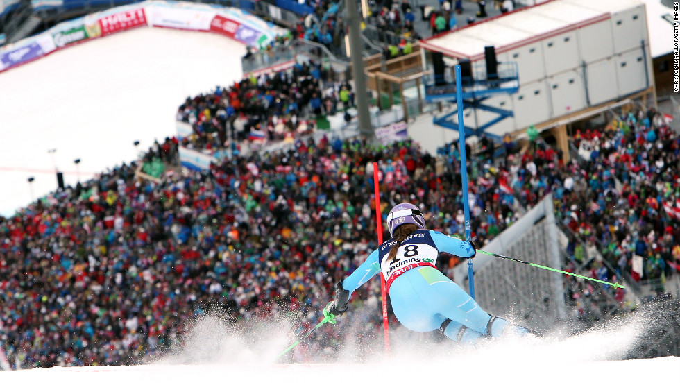 Maze tackles the steep slopes of Schladming, where she made history as the first Slovenian to win a title.
