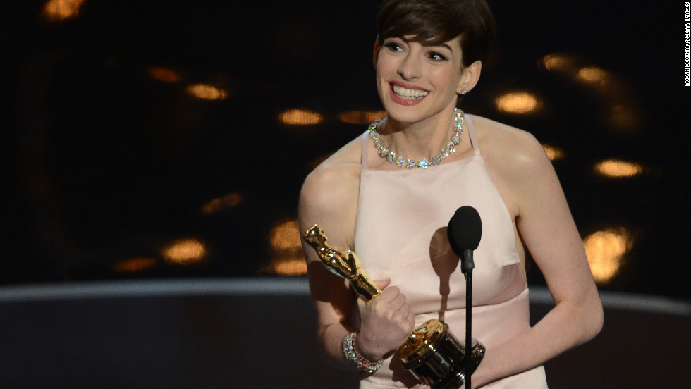 "Love her or <a href=""http://www.cnn.com/2013/02/28/showbiz/celebrity-news-gossip/anne-hathaway-hate/index.html"">hate her</a>, Anne Hathaway has had quite the rise to stardom. Here she accepts her best supporting actress Oscar for her role as Fantine in ""Les Miserables"" on Sunday, February 24. Click through to see some other highlights of Hathaway's career:"