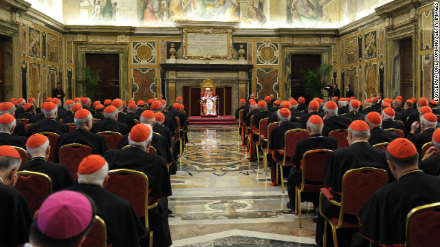 Pope Benedict XVI attends a meeting with his cardinals during a farewell ceremony in the Clementine Hall of the Vatican's Apostolic Palace on February 28, 2013 in Vatican City.