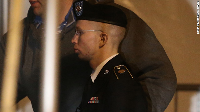 Pfc. Bradley E. Manning is escorted from a hearing Thursday at Fort Meade, Maryland, where he pleaded guilty to 10 charges.