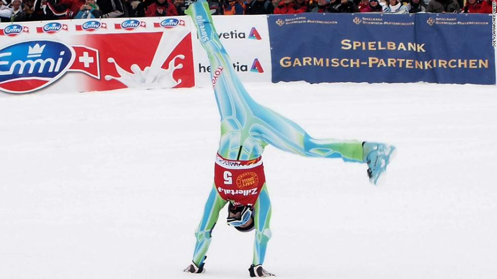 Maze shows her gymnastic talents with an impromptu cartwheel at a World Cup event in Germany.