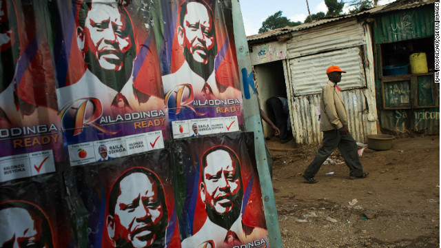 Campaign posters advertising presidential candidate and Prime Minister Raila Odinga in Nairobi's Kibera slum, February 27, 2013.