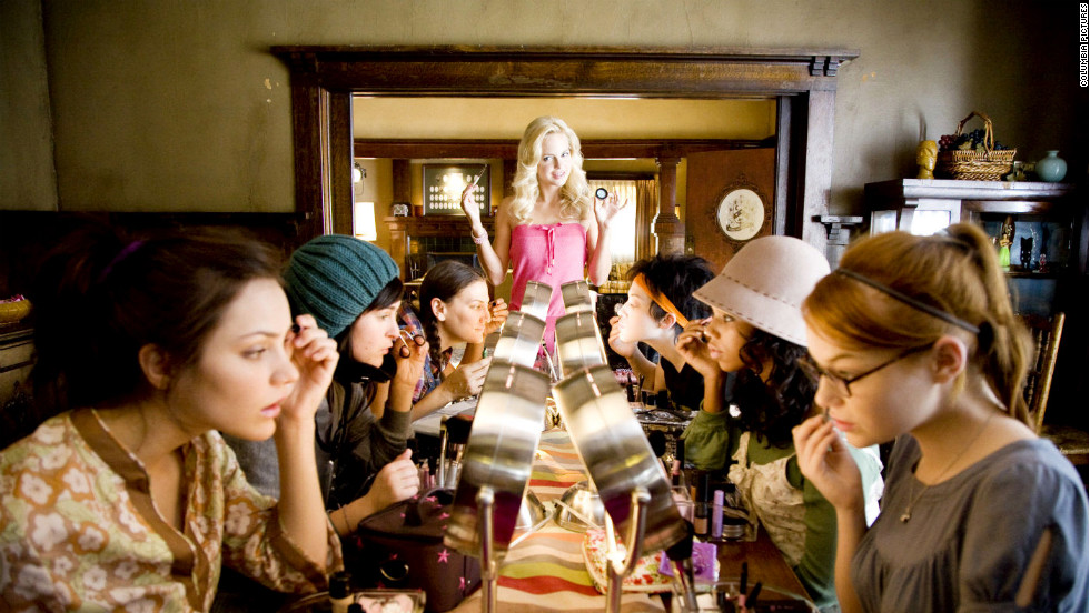 "After being asked to leave the Playboy Mansion, Shelley (Anna Faris) finds work as a sorority housemother in ""The House Bunny."" Emma Stone stars as one of the Zeta Alpha Zetas that Shelley makes over, and Hugh Hefner makes an appearance."