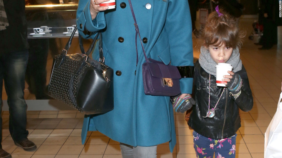Jessica Alba and her daughter arrive in Paris, France.