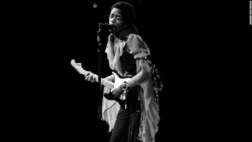 "<strong>Hendrix performs at Madison Square Garden in 1969:</strong><br />""I was always mesmerized by the transformation of Jimi's persona from the shy, soft-spoken individual into the towering monster guitarist that appeared on stage demolishing everything in his path with waves of intense sound. I rarely attended Jimi's shows as just a fan and not being in a mobile truck recording him,so it was such a moment of visceral pleasure to capture these images from the side and front of the stage."" --<em> Eddie Kramer</em>"