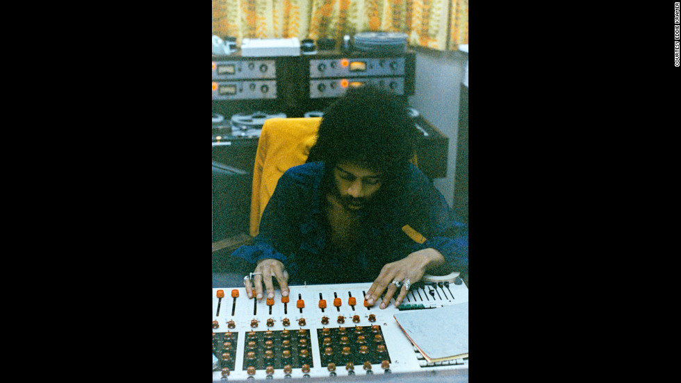 "<strong>Hendrix works at the mixing board at the Record Plant in New York in 1968:</strong><br />""Jimi was totally into the technology of the day as demonstrated by his ability at the board. We often mixed together as a team, mostly ending in very creative collaborations or falling over laughing at the mess we had made of the sound. In fact '1983 (A Merman I Should Turn to Be)' was mixed as one complete take with two or three rehearsals beforehand."" --<em> Eddie Kramer</em><br />"