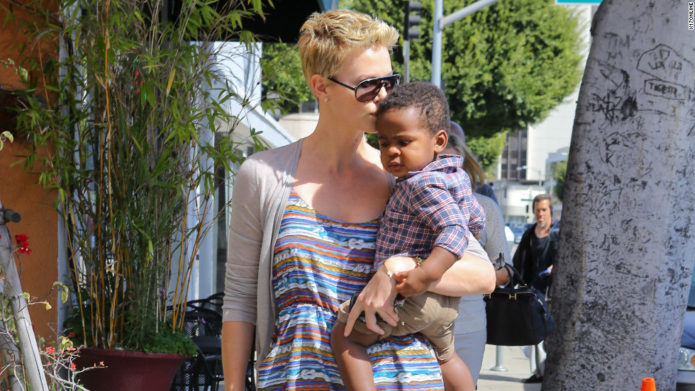 Charlize Theron runs errands with her baby in Beverly Hills.