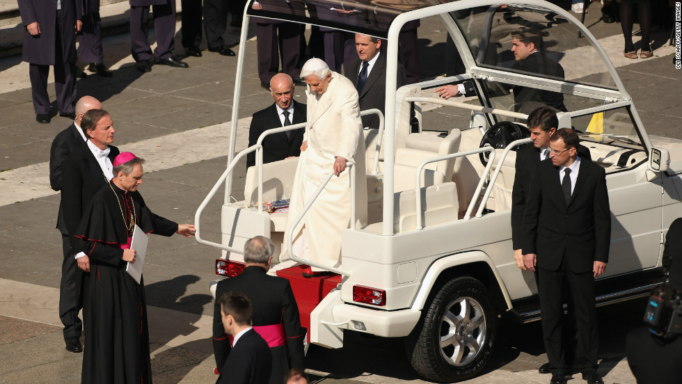 Benedict XVI disembarks the latest version of the Popemobile in St. Peter's Square on February 27, 2013, the day before he stepped down as pope.