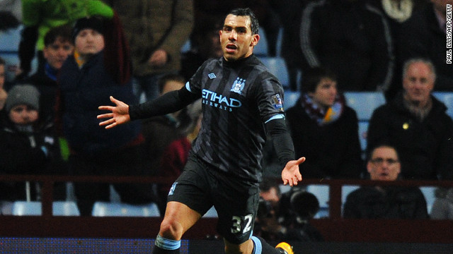 Carlos Tevez celebrates his winning goal in Manchester City's 1-0 win over Aston Villa in the EPL.
