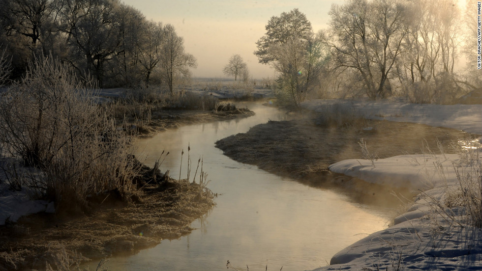 Frost-covered plants are seen on banks of the Usiazha River near the Belarus village of Usiazha, on February 26.