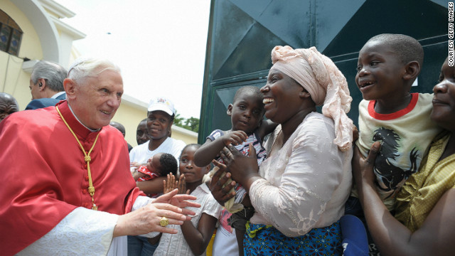 Pope Benedict XVI greeting Catholics during his visit to Luanda, Angola, on March 21, 2009.