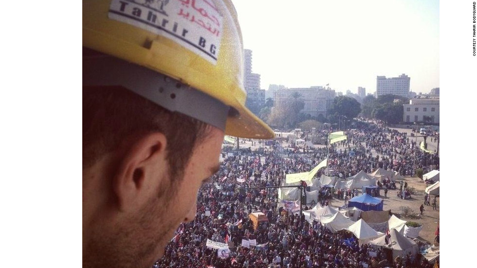 The view on the crowds in Tahrir. Attacks typically occur during mass demonstrations after nightfall.