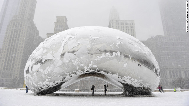 CHICAGO, IL - MARCH 5: The sculpture 'Cloud Gate', commonly known as 'the bean,' is covered in snow on March 5, 2013 in Chicago, Illinois. The worst winter storm of the season is expected to dump 7-10 inches of snow on the Chicago area with the worst expected for the evening commute. (Photo by Brian Kersey/Getty Images)