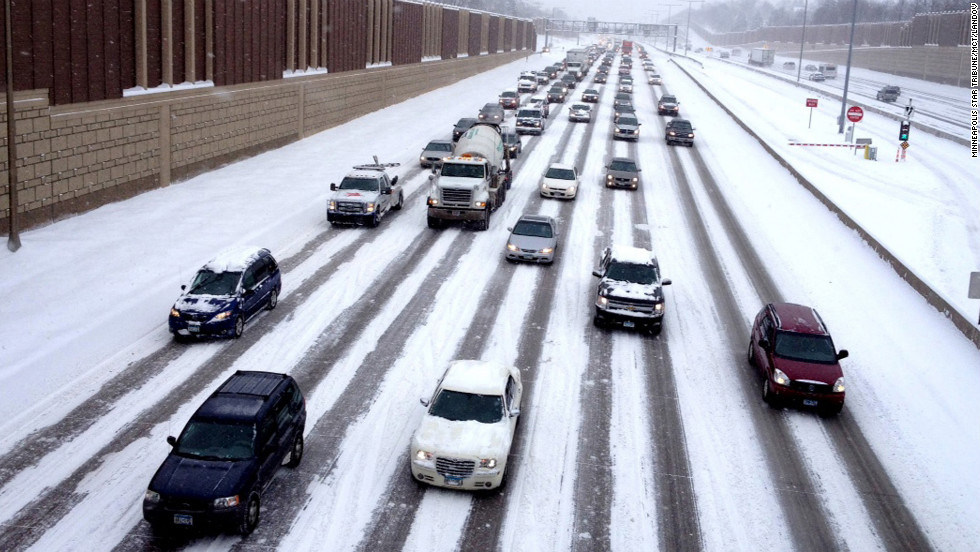 Motorists make their way on Interstate 35W into downtown Minneapolis on Tuesday, March 5.