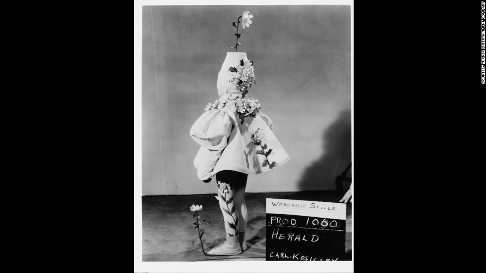Karl Kosiczky dressed as the Munchkin Herald during a wardrobe test.