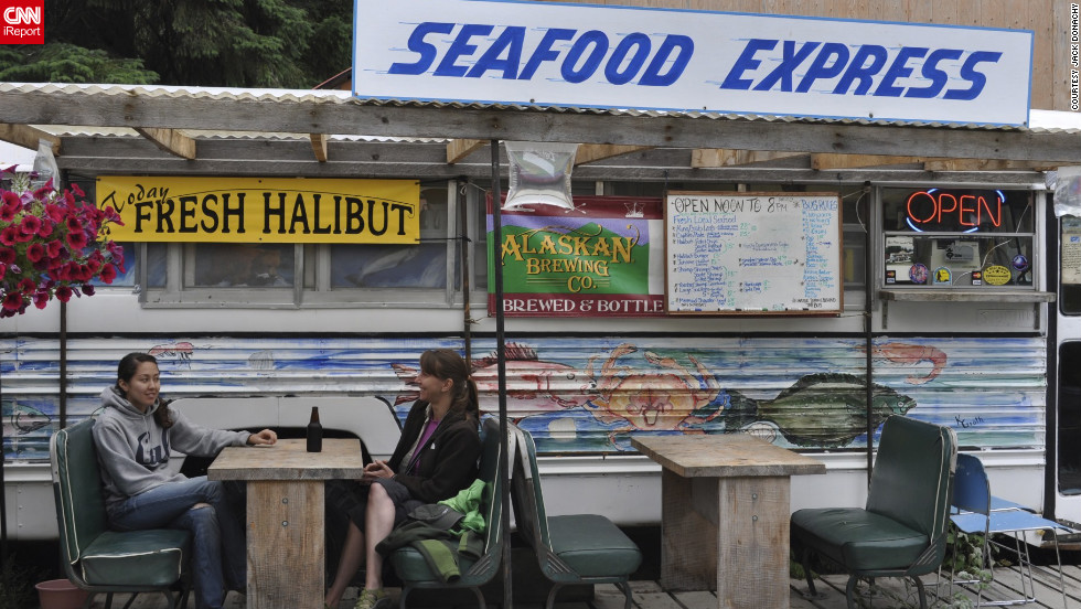 """Diana and Jim Simpson's <a href=""http://hyderalaska.com/"" target=""_blank"">Seafood Express</a> is a school bus that's been converted into the best place we know of to get fish and chips. Jim's a fisherman; he plies the cold Alaskan waters for the sweet shrimp, halibut and salmon that make up the focus of Diana's menu."" -- <a href=""http://ireport.cnn.com/docs/DOC-872514"">Jack Donachy</a>"