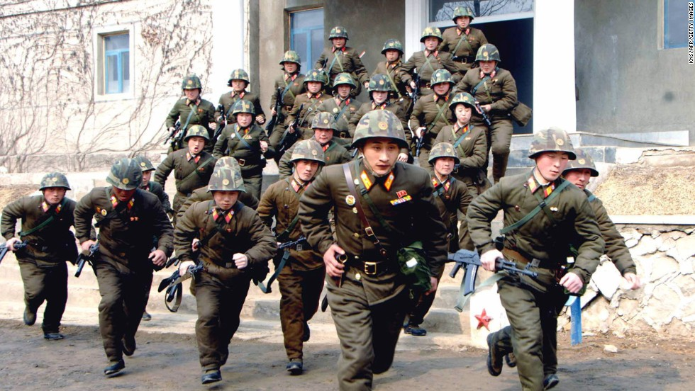 Soldiers in the North Korean army train at an undisclosed location in March 2013.