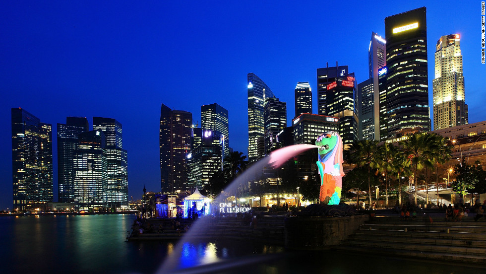 Singapore's skyline and iconic Merlion on March 28, 2012. The city-state is Asia's most innovative city for its ability to attract global talent and high livability, says Solidiance, a strategy consulting firm.