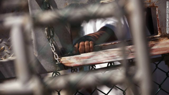 A detainee waits for lunch at the detention center on September 16, 2010 in Guantanamo Bay.