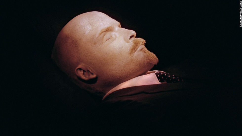 Photographed for the first time in 30 years, the embalmed body of Russian leader and Soviet Union founder Vladimir Ilyich Lenin is seen in 1991 in the Mausoleum.