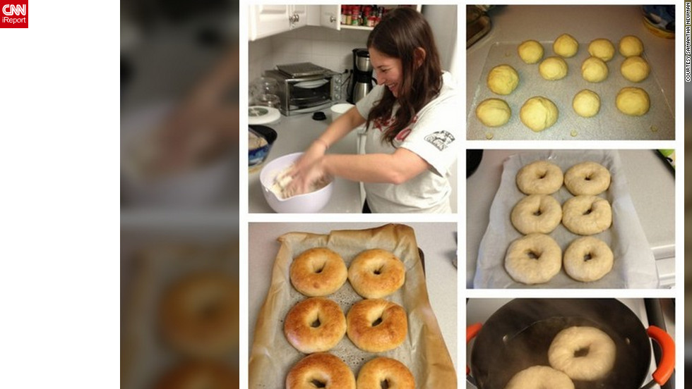 "<a href=""http://ireport.cnn.com/docs/DOC-938218"">Samantha Newman</a> of Washington, D.C. spent her ""snow day"" making homemade bagels. She thanked the ""snowquester"" for her day off. ""We actually did not get any snow in D.C. and only got rain. But the Federal Government closed and when they close, everything else in D.C. generally shuts down,"" she said. Newman decided to make bagels because her boyfriend loves them, and because she says she can't find a good bagel shop in the city."