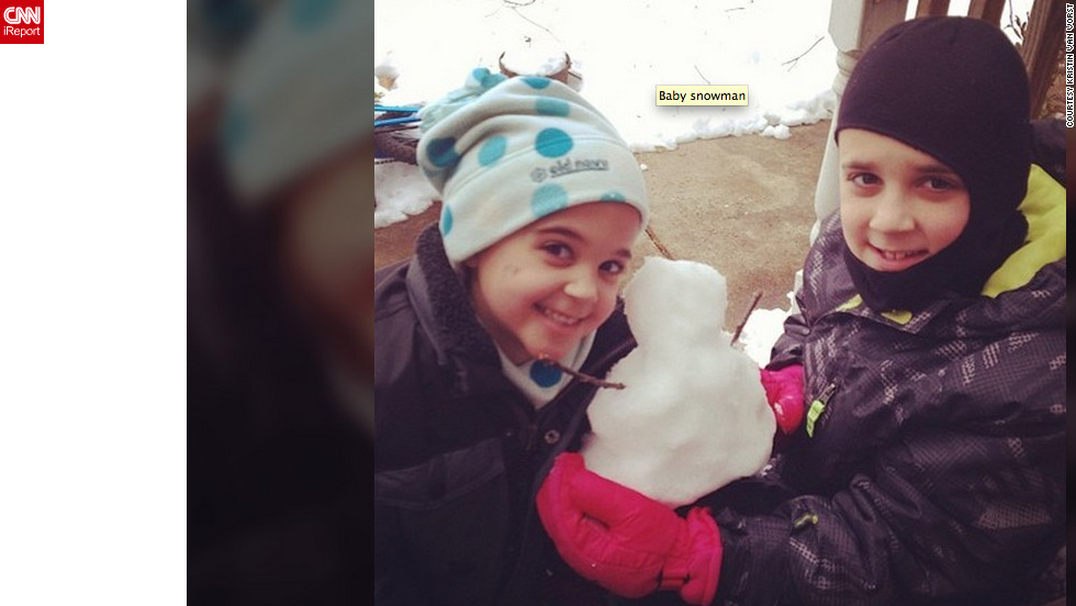 "<a href=""http://ireport.cnn.com/docs/DOC-938215"">Kristin Van Vorst </a>from Spotsylvania, Virginia, says her area got more than 8 inches of snow. She and her children, Sydney and Elliot, went outside to play in the fresh snow, and built this tiny snowman. ""The best part of a snow day is extra time together,"" she said."