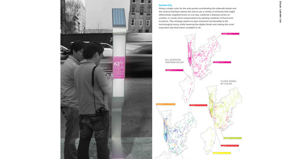"The sleek looking ""Smart Sidewalks"" phone booth is powered by a solar panel and enables users to view local maps and information on a futuristic touch-screen."